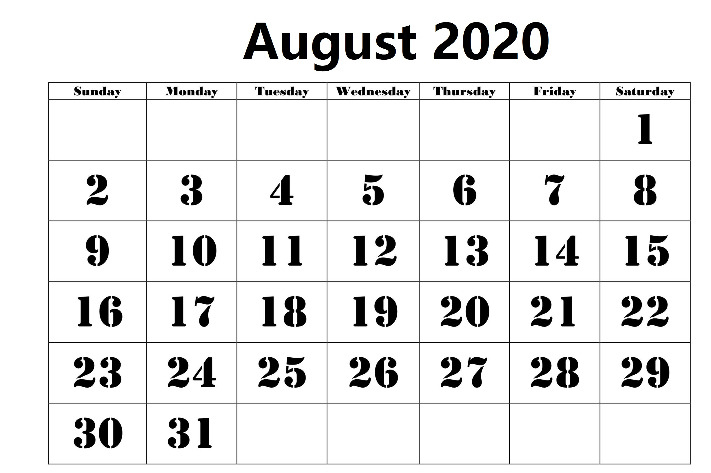 Blank August 2020 Calendar With Holidays