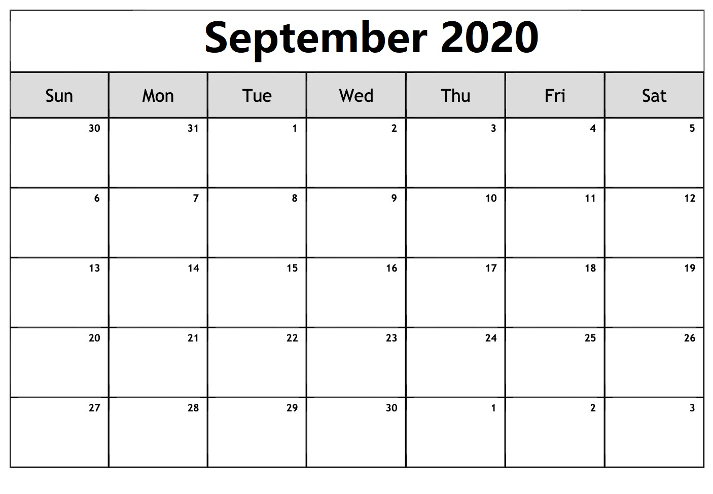 Blank Calendar Pages September 2020