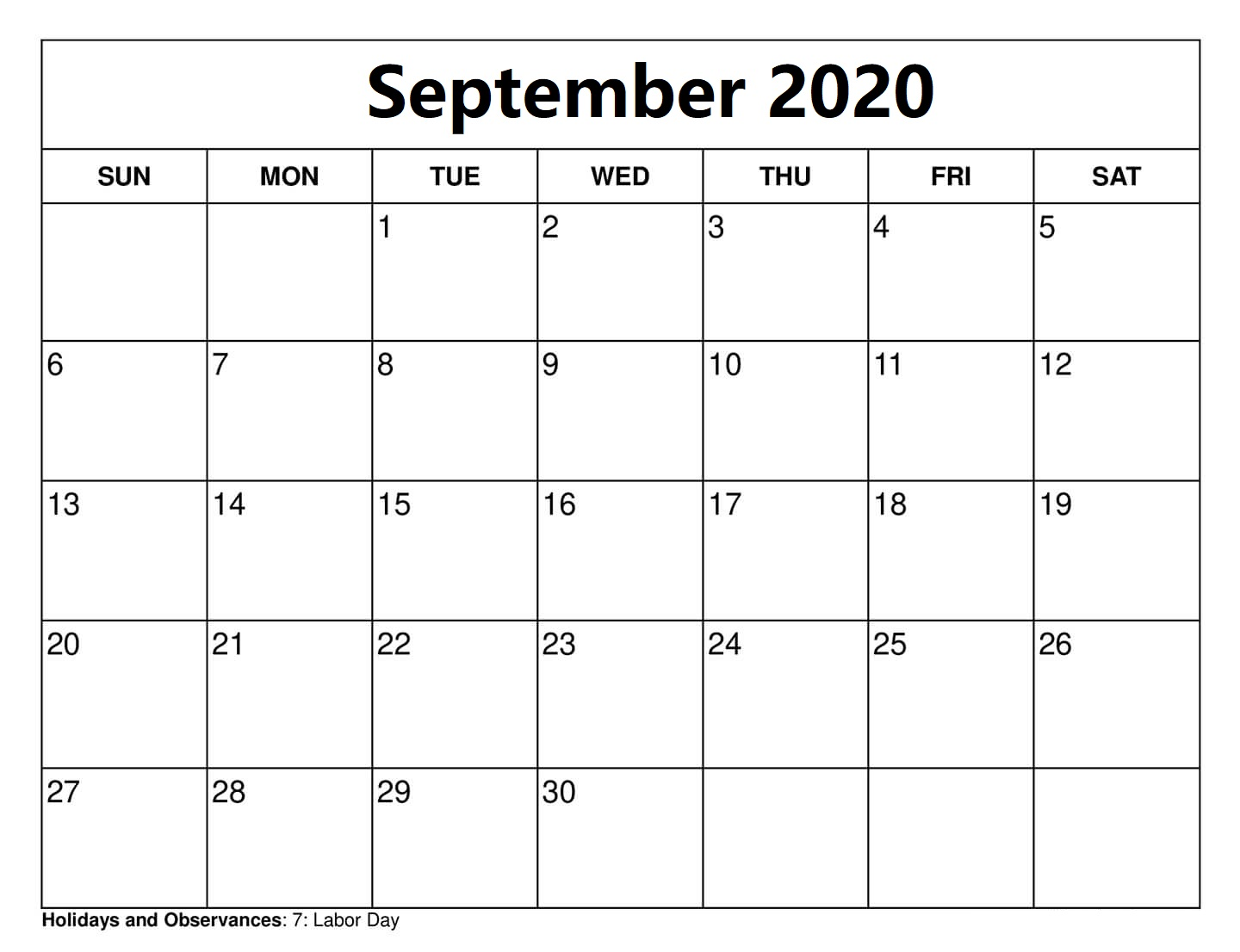 Blank September 2020 Calendar With Holidays