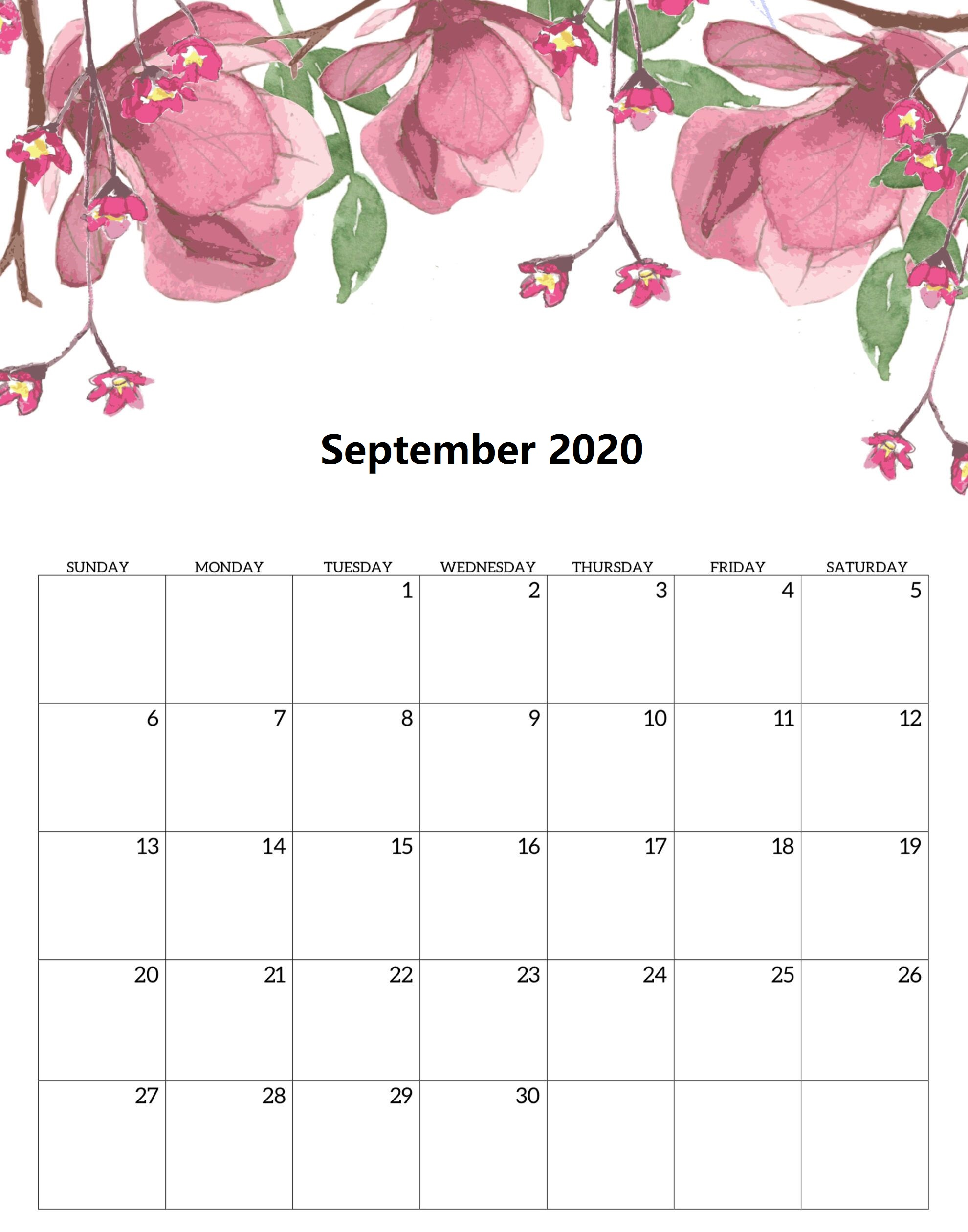 Calendar For September 2020 Cute