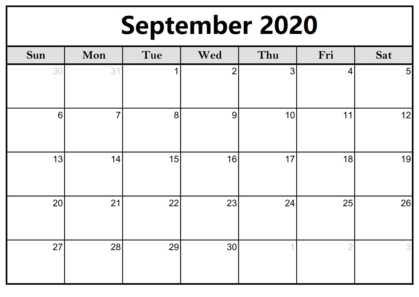 Calendar For September 2020 Excel