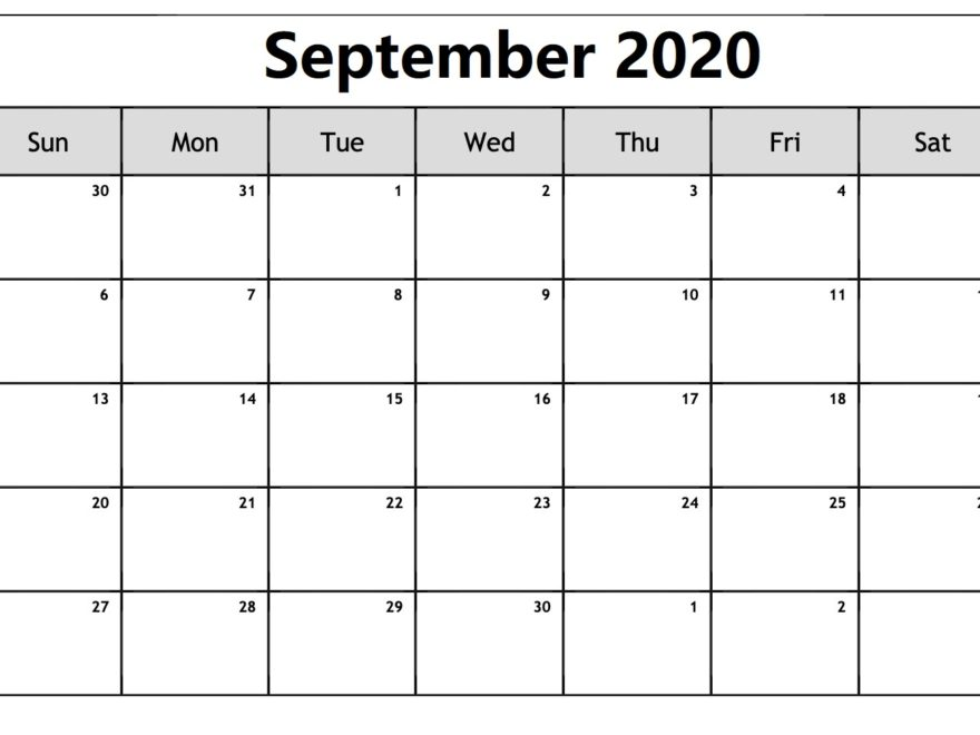Calendar For September 2020 Printable