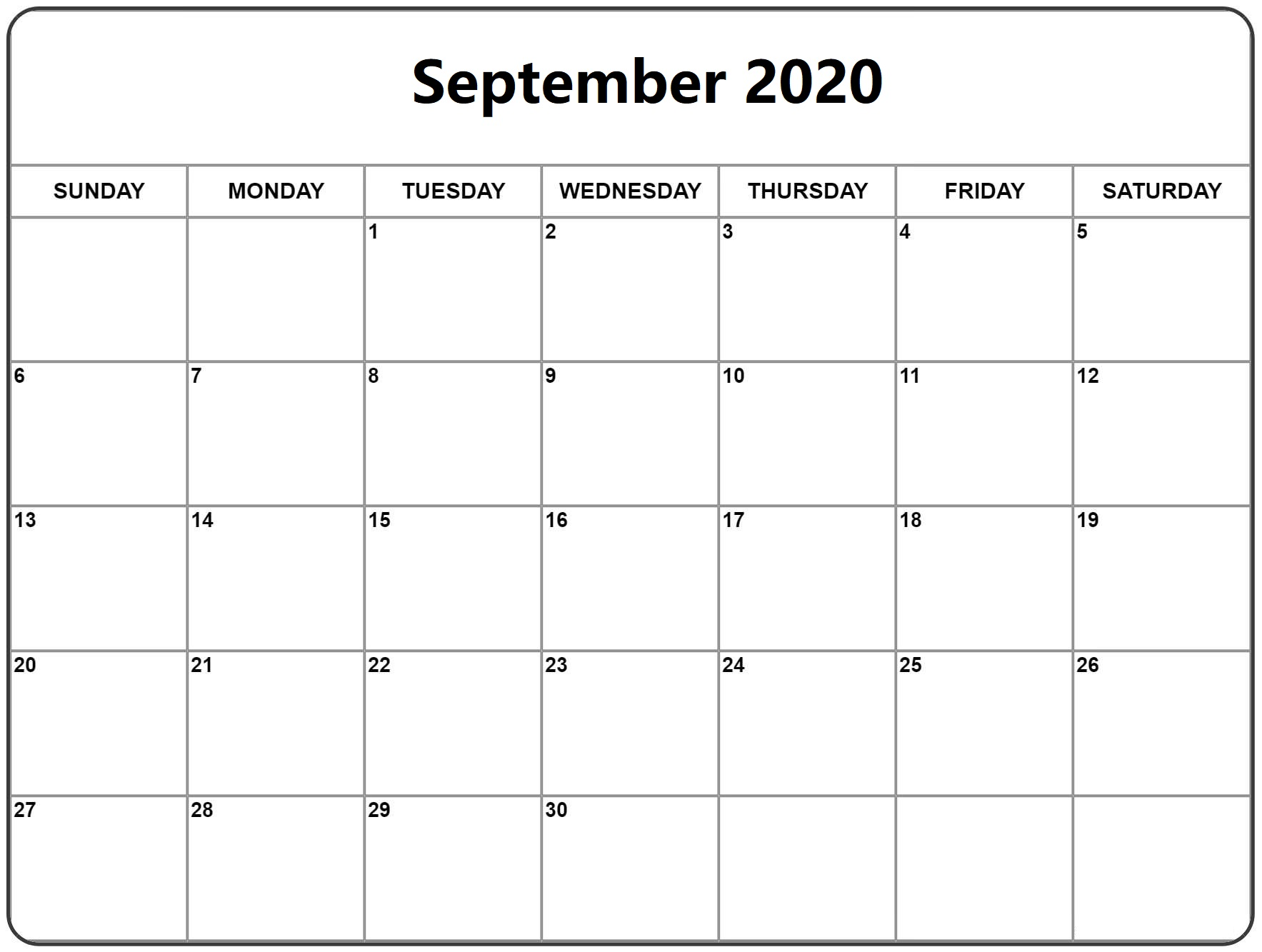 Calendar For September 2020 Word