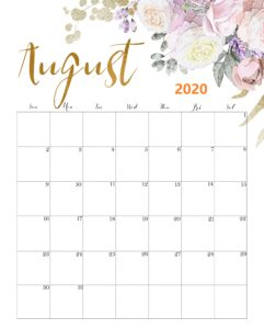 Colorful Calendar For August 2020