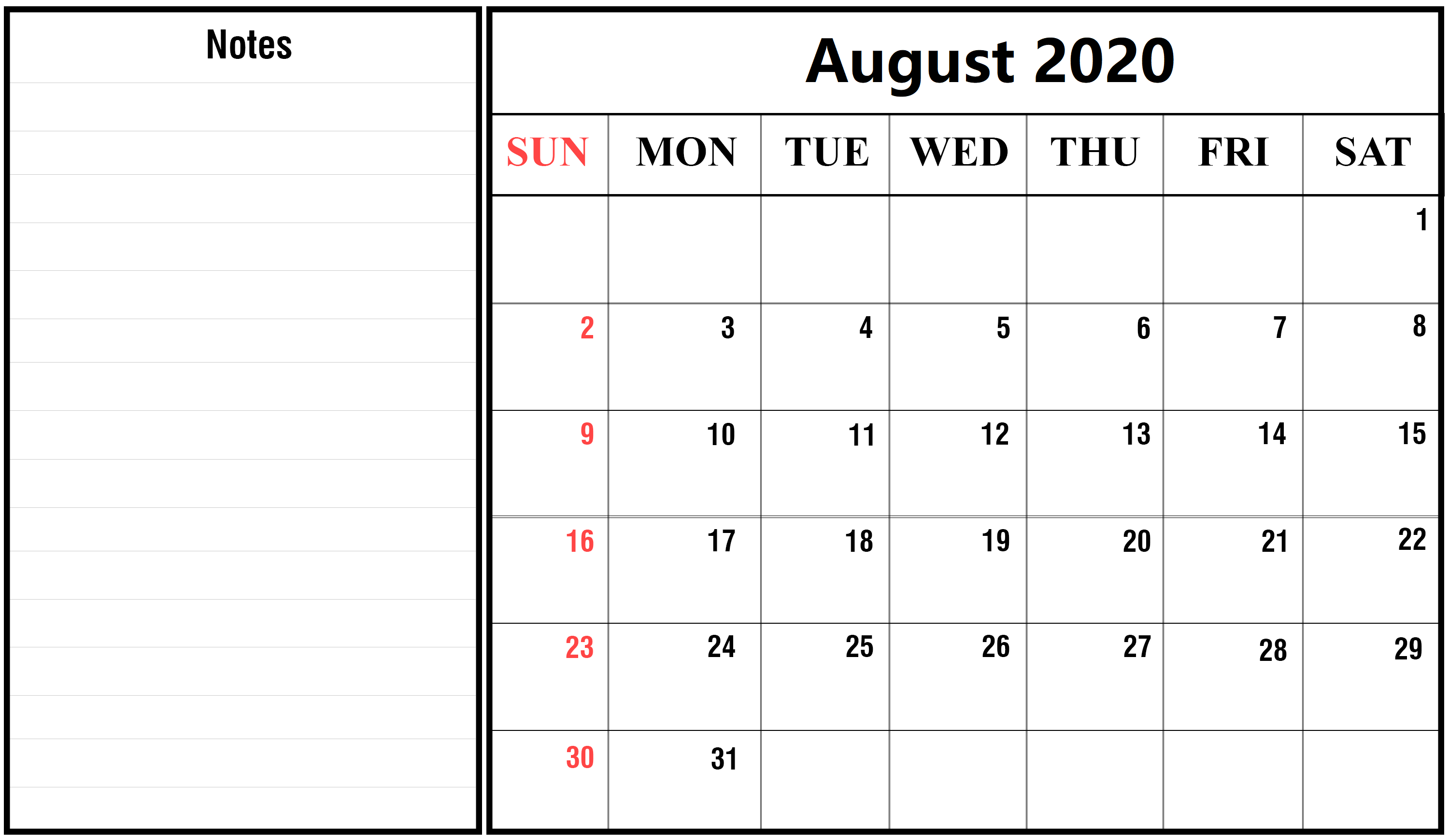 Cute August 2020 Calendar With Notes