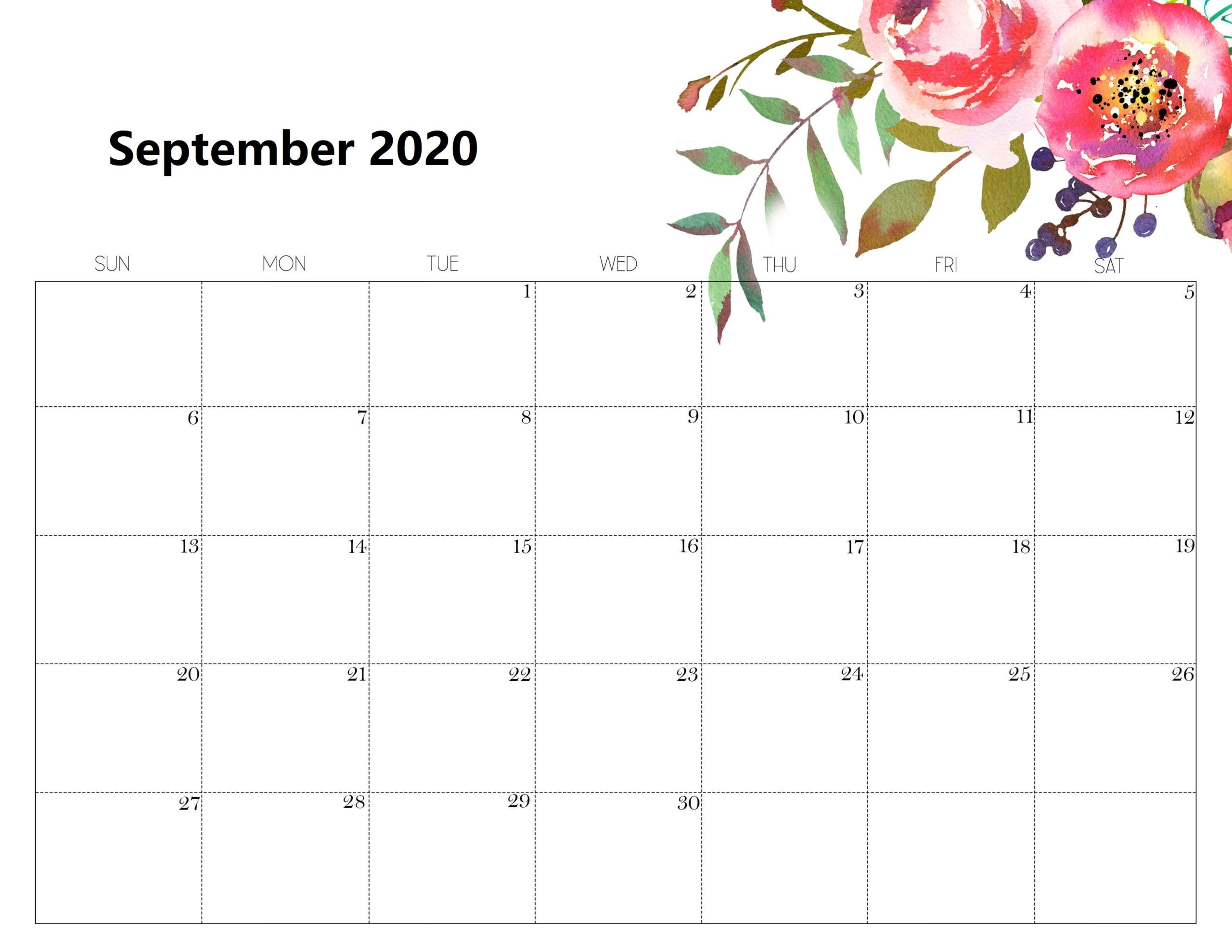 Cute September 2020 Calendar Design