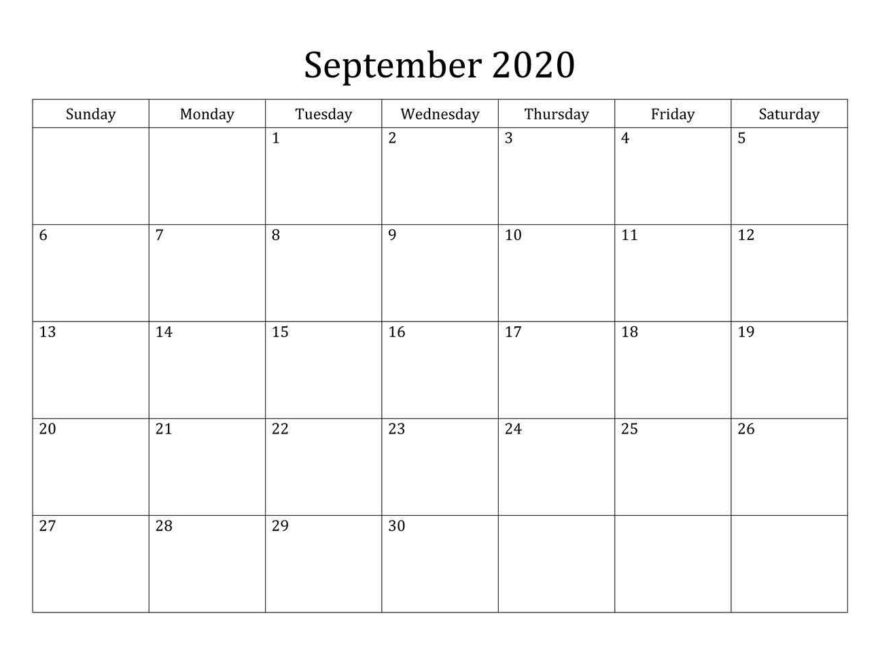 Cute September 2020 Calendar Template