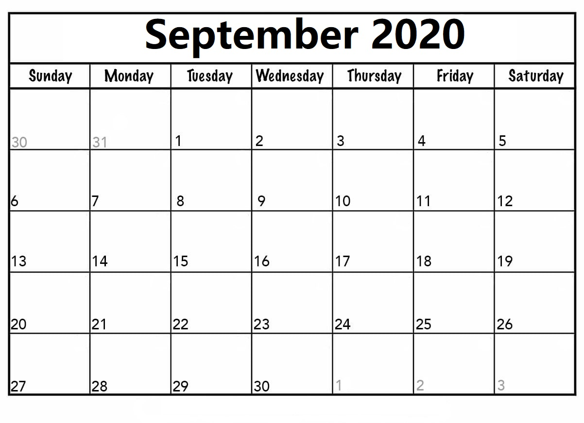 Cute September 2020 Calendar Word