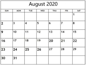 Free August 2020 Calendar With Holidays