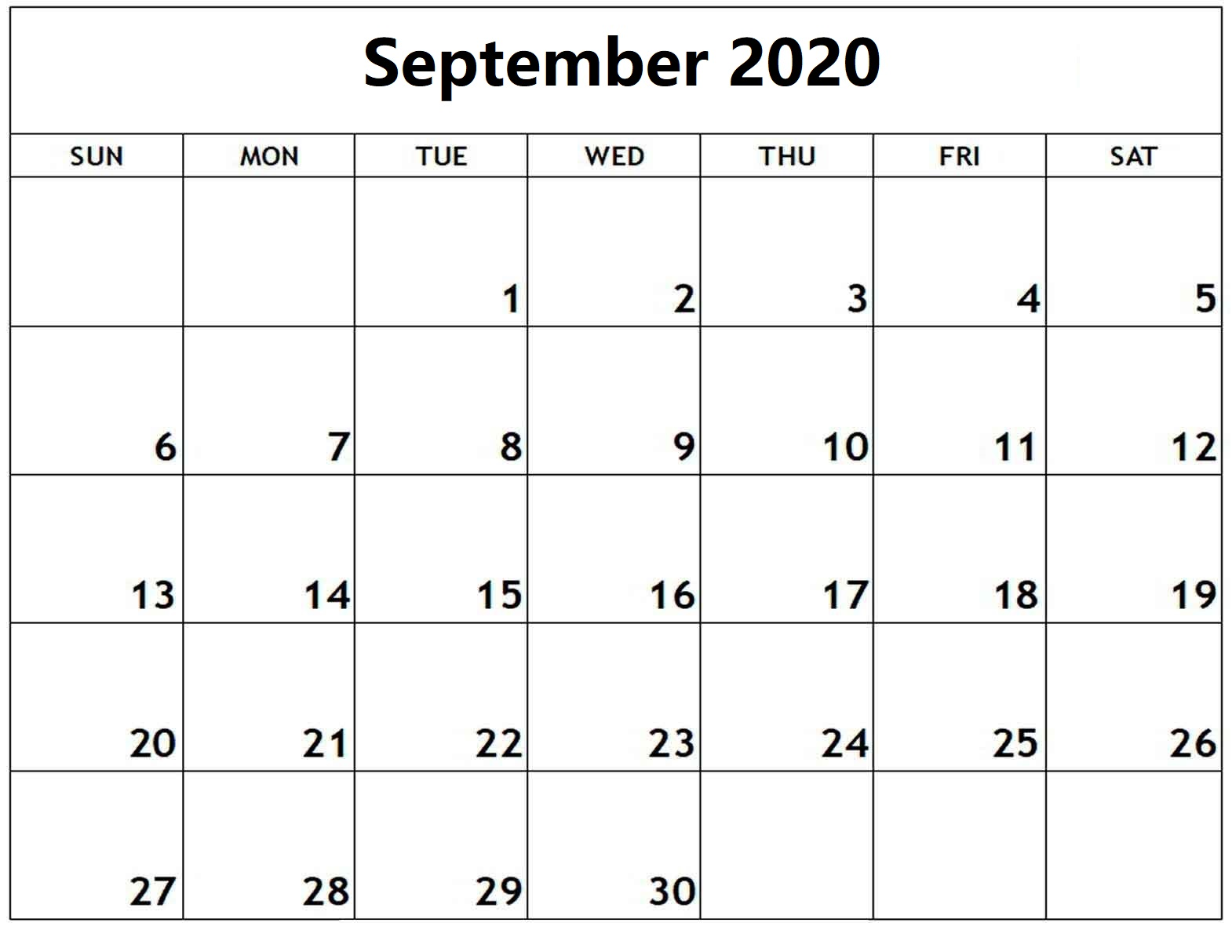 Free September 2020 Monthly Calendar
