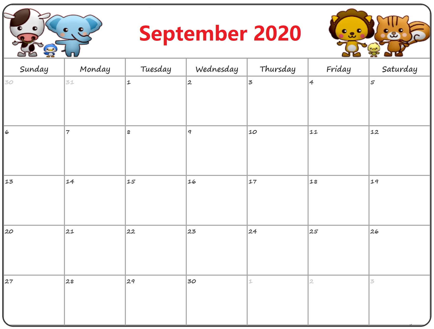 Latest September 2020 Calendar With Holidays