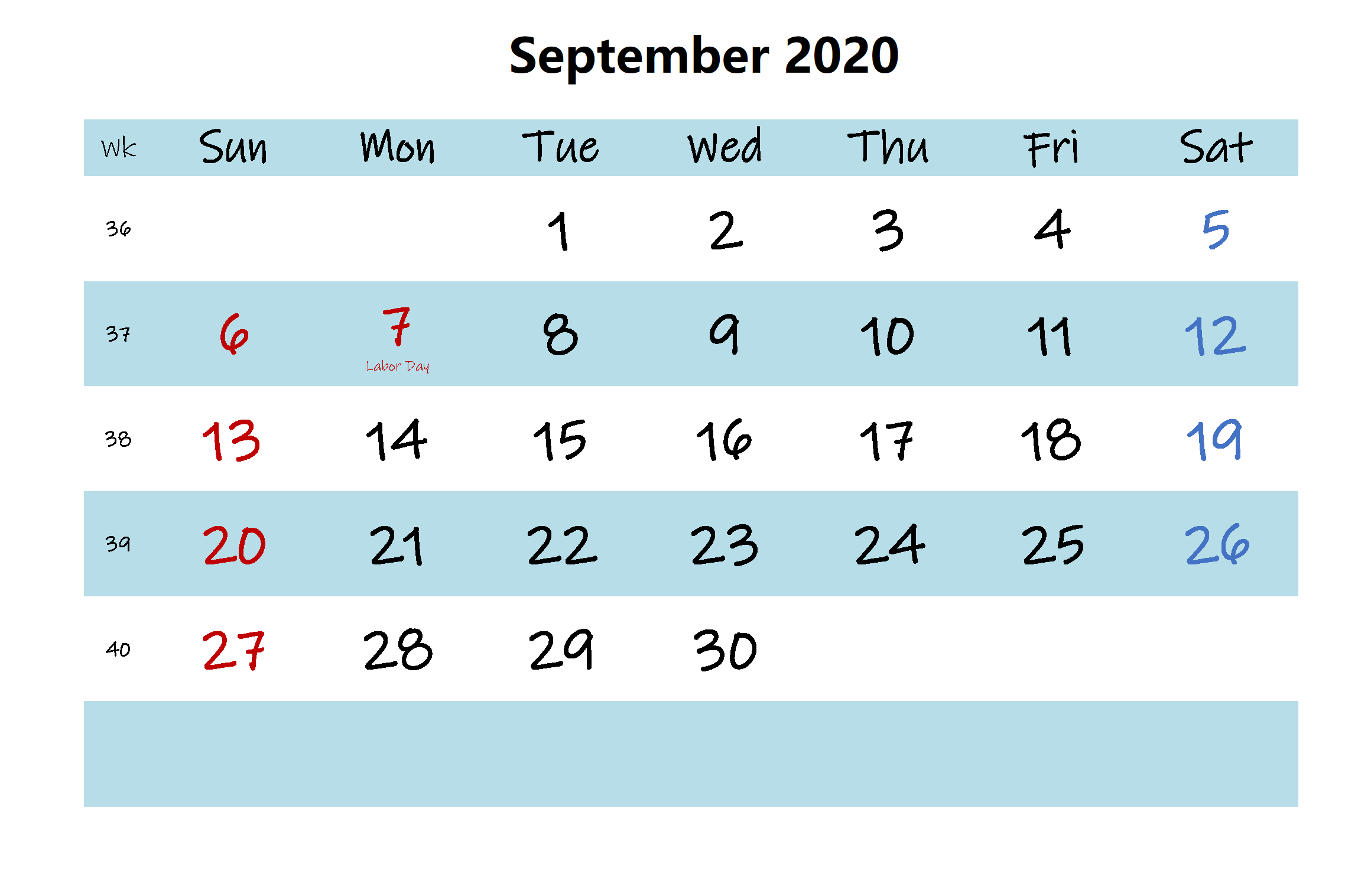September 2020 Calendar Template Cute