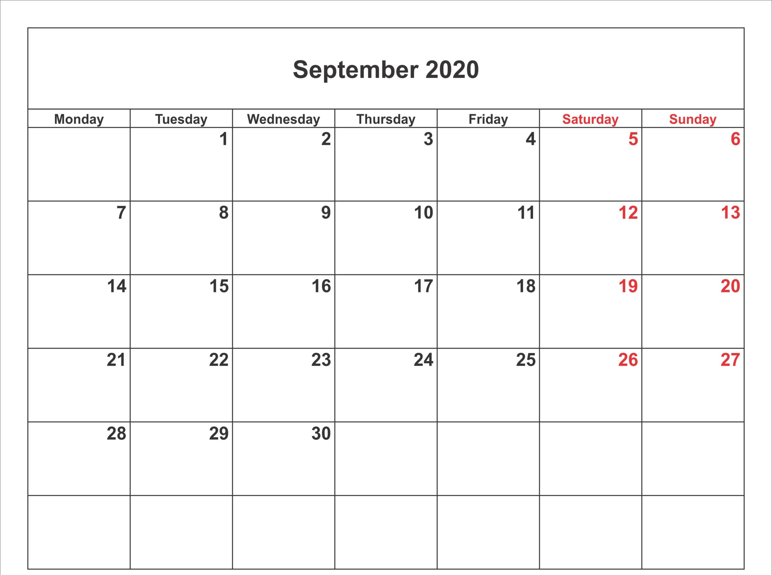 September 2020 Calendar Template With Design