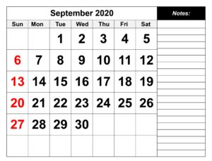 September 2020 Calendar With Holidays With Notes