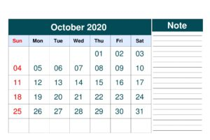 Calendar For October 2020 With Notes
