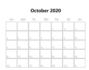 Calendar Page For October 2020