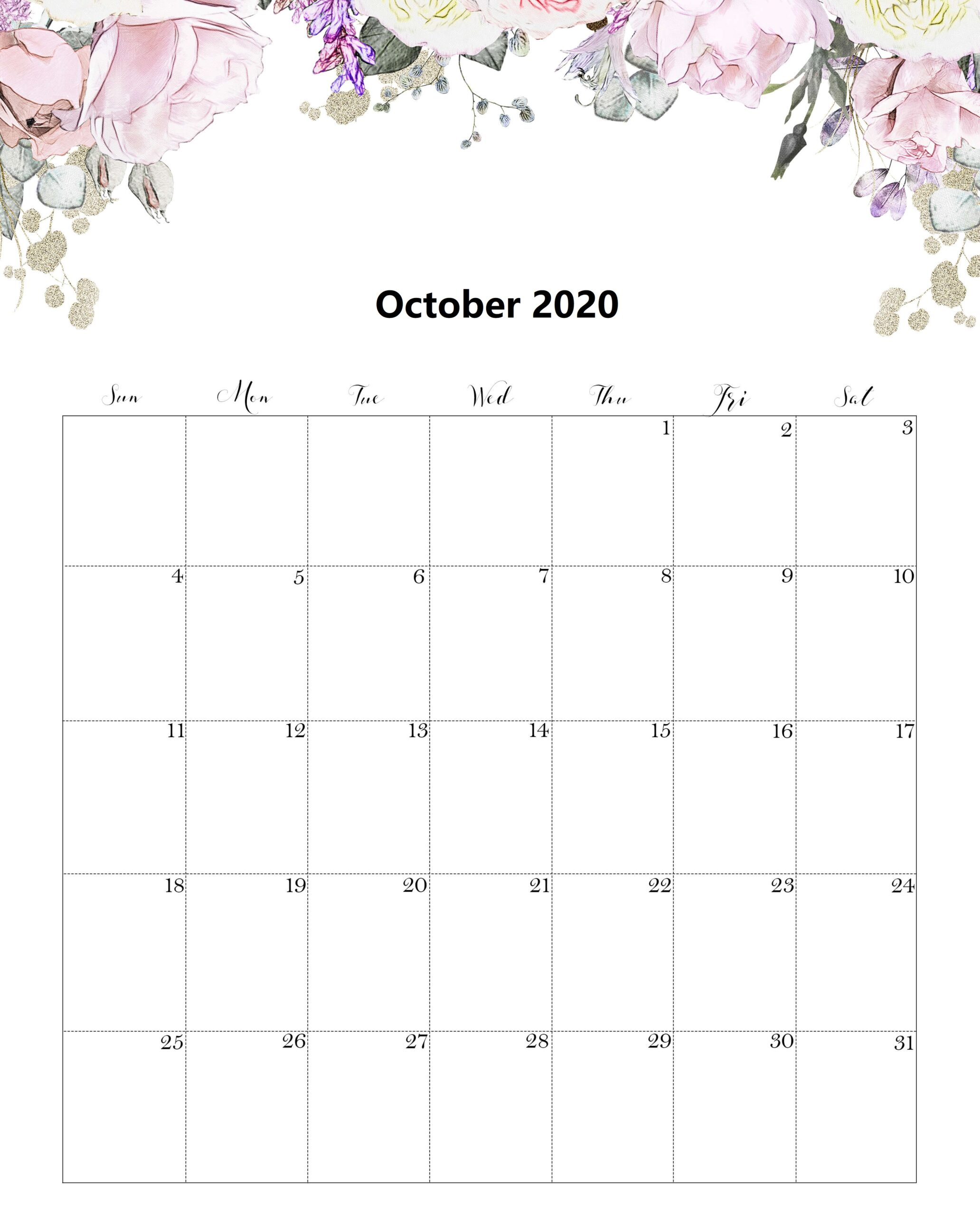 Cute October 2020 Calendar Template
