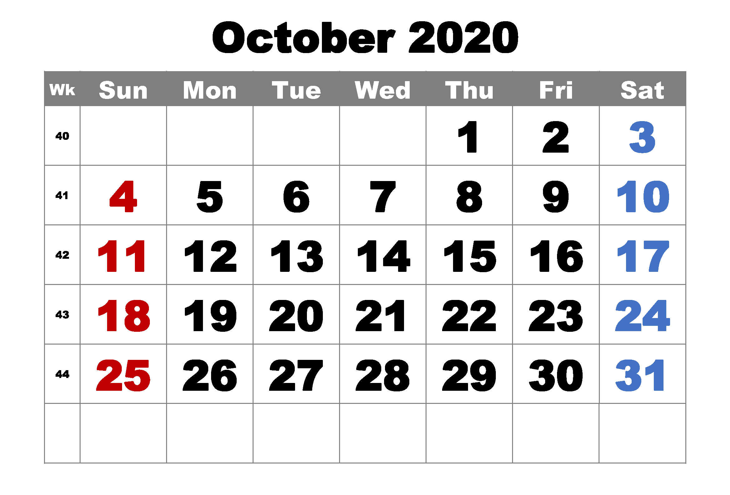 October 2020 Calendar Template Cute
