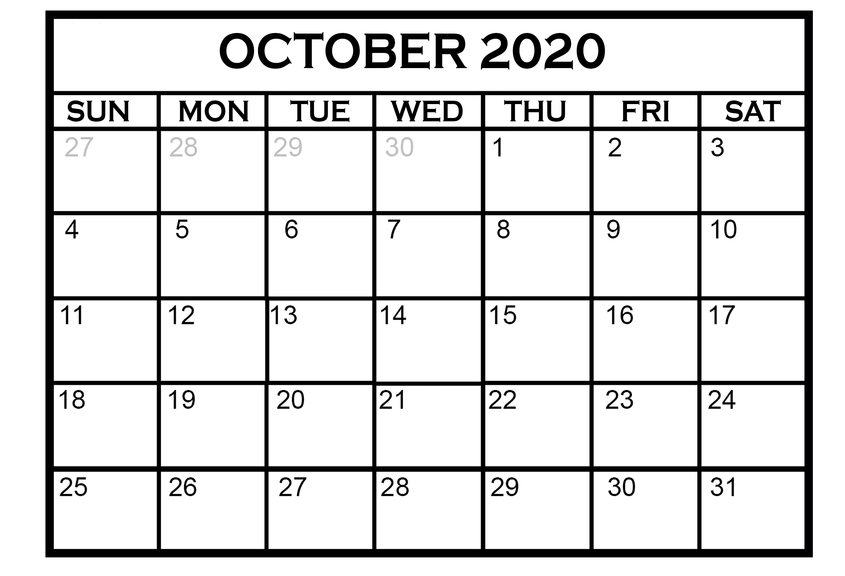 October 2020 Calendar Template Download