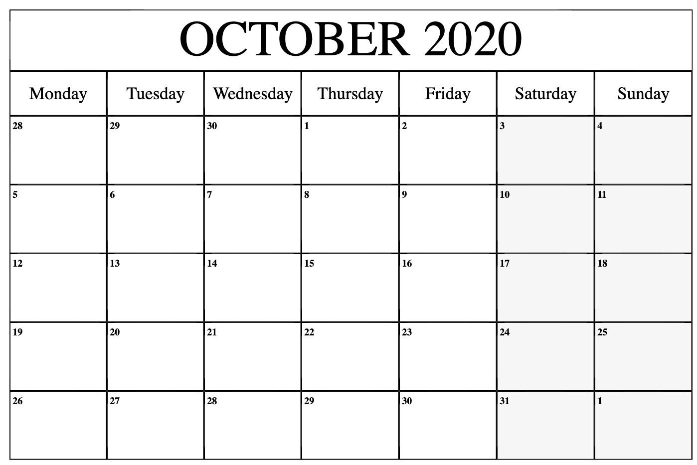 October 2020 Calendar Template Excel