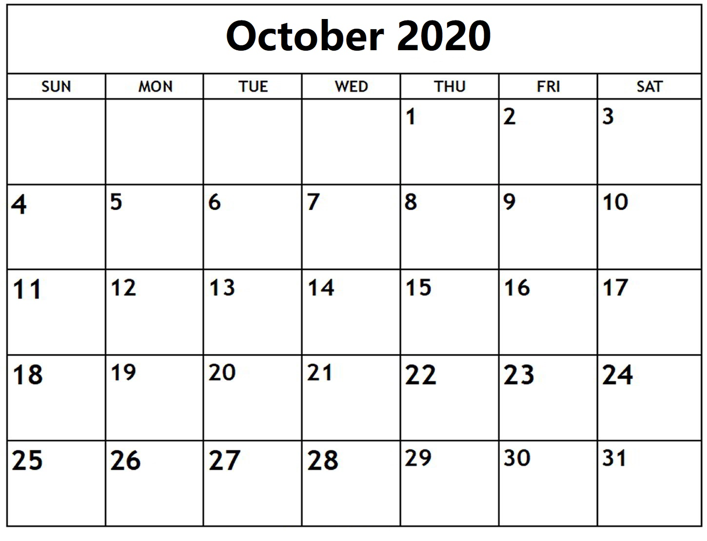 October 2020 Calendar Template With Holidays