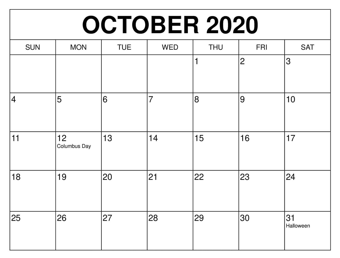 October 2020 Calendar Template Word