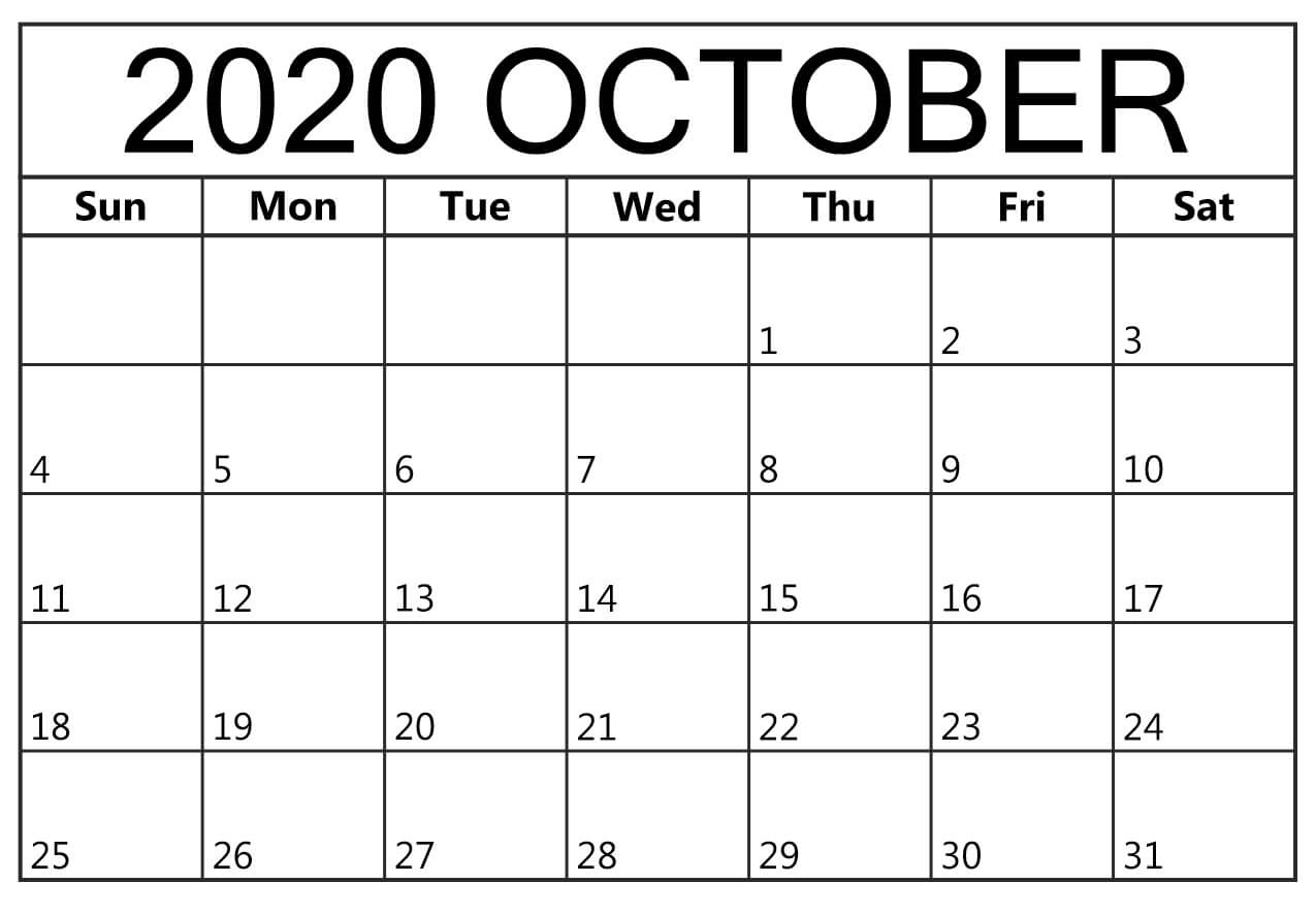 Printable October 2020 Calendar Template