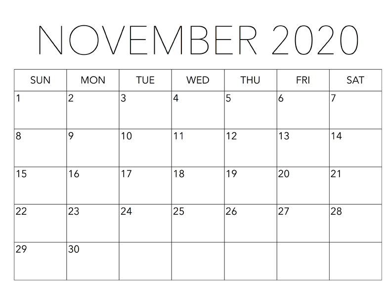 Calendar for November 2020 With Holidays