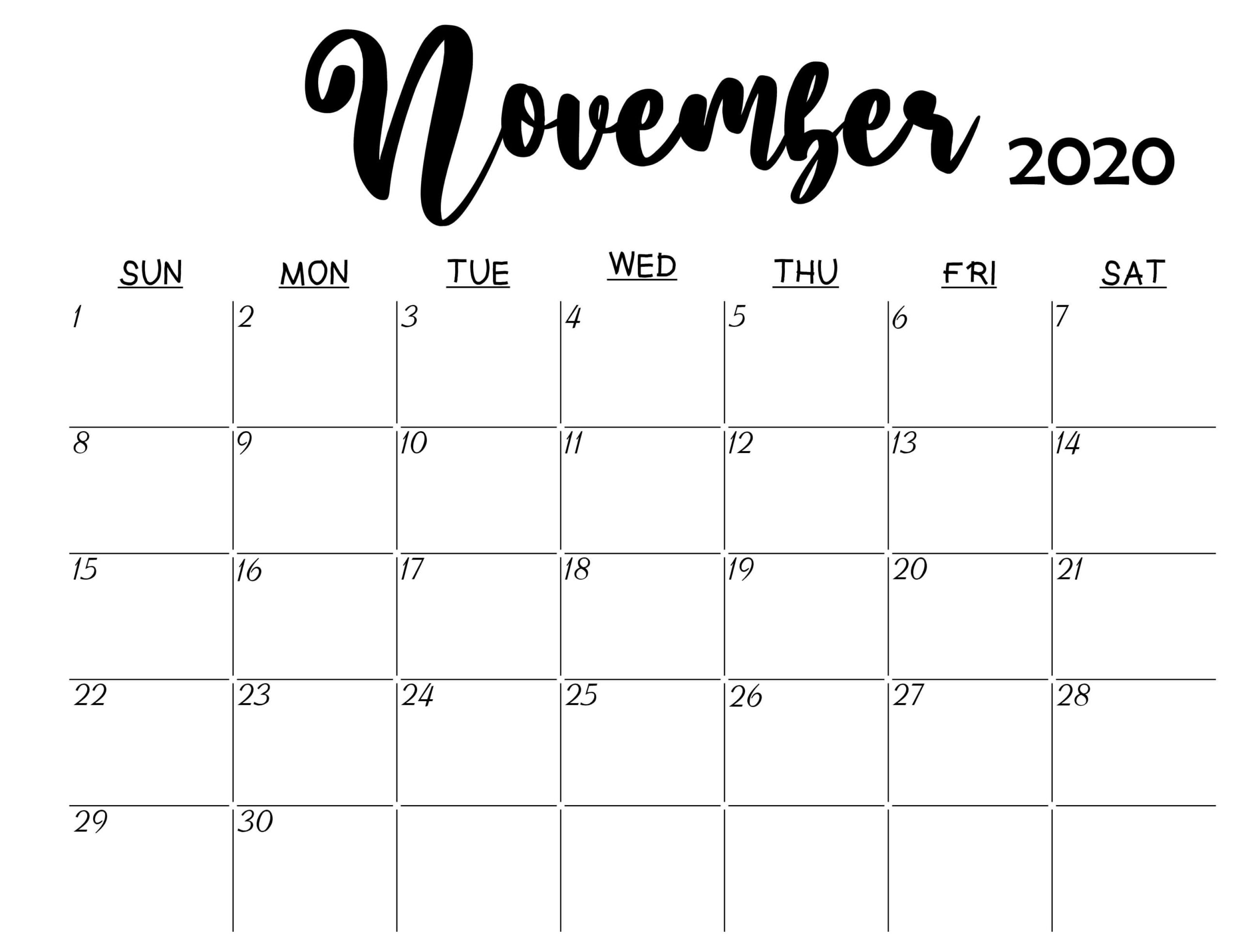 November 2020 Calendar Printable Events