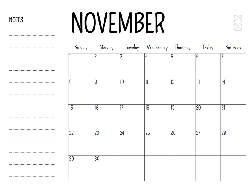November 2020 Calendar Printable With Holidays