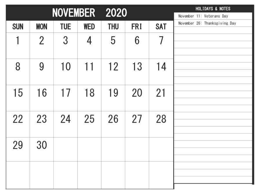 November 2020 Calendar With Holidays Events