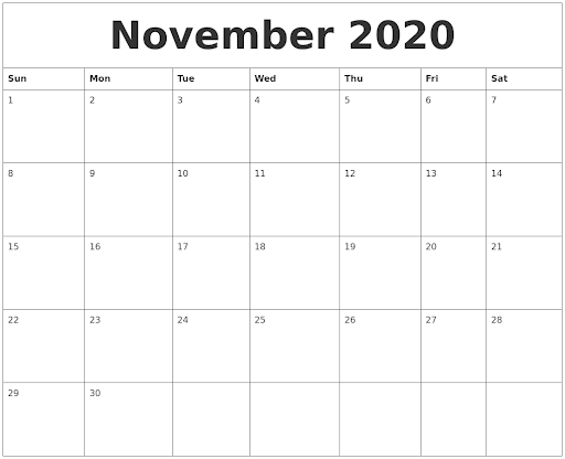 Printable November 2020 Calendar Horizontal