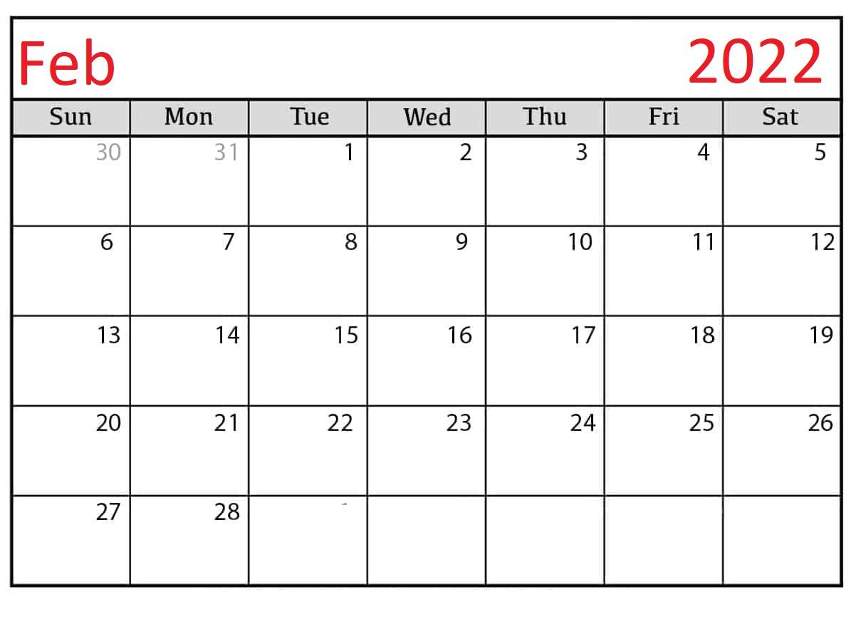 February-2022-Blank Calendar