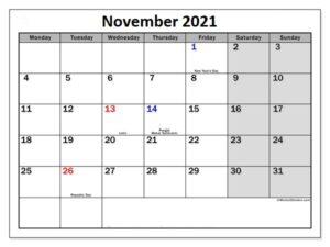 November Calendar for 2021 PDF download