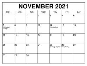 November calendar 2021 Daily Routine