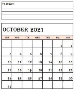 October 2021 Calendar Printable Template