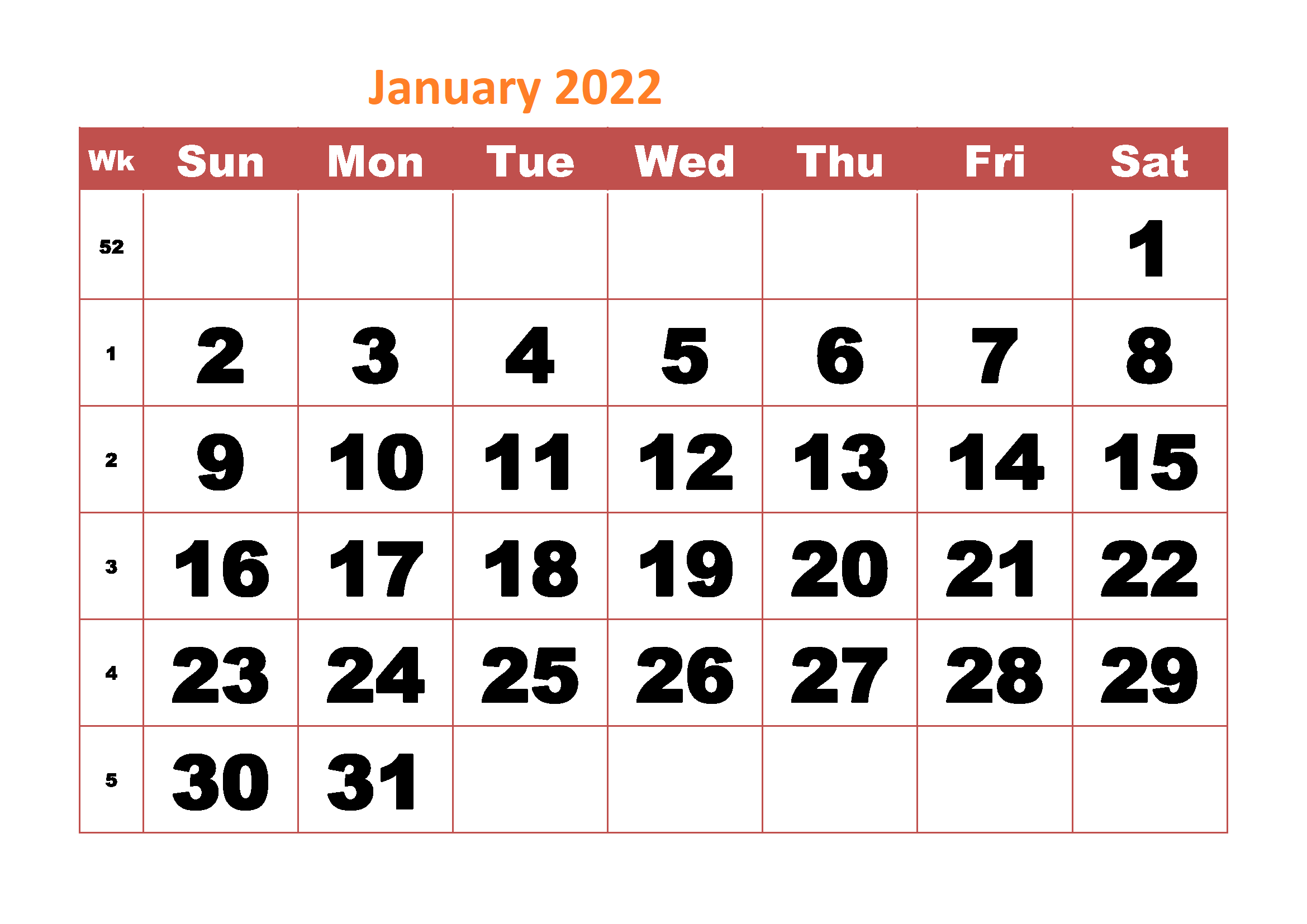 january-2022-monthly-calendar-monthly Schedule