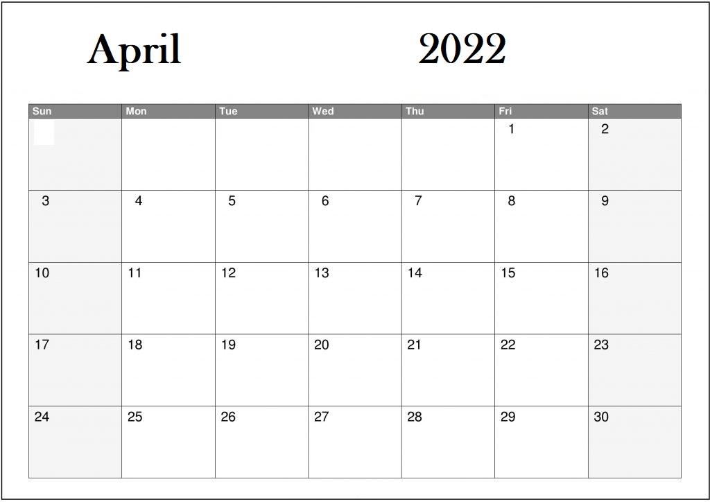 2022-April-Calendar-Printable